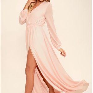 Blush long sleeve maxi dress with high slit